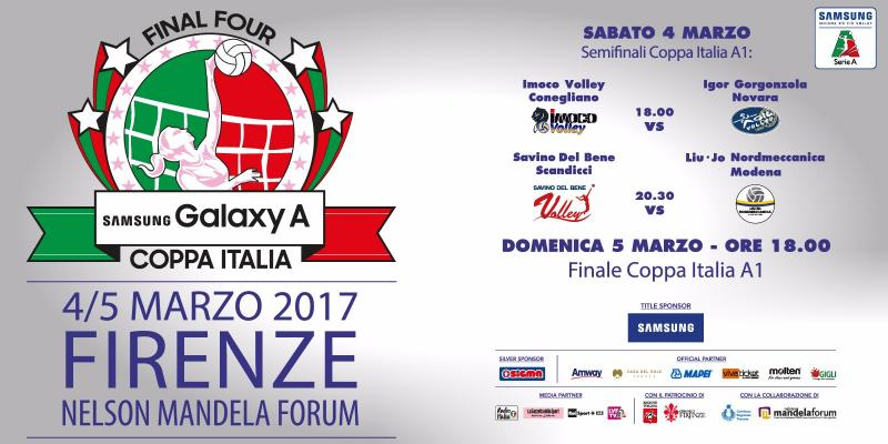 FINAL FOUR SAMSUNG GALAXY A COPPA ITALIA: 4 E 5 MARZO A FIRENZE