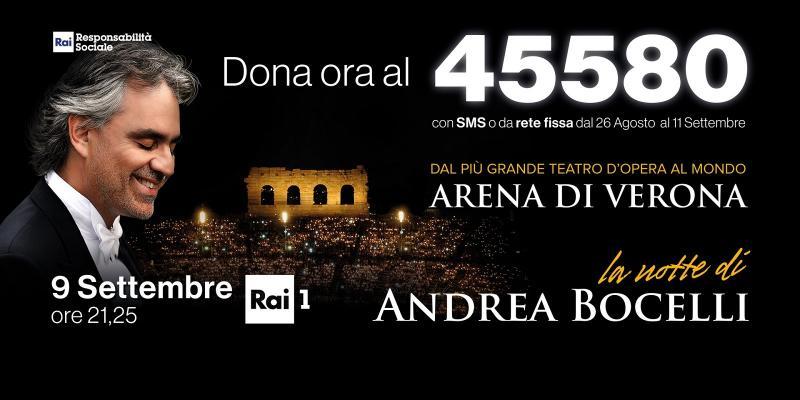 """RECORD DI ASCOLTI PER """"LA NOTTE DI ANDREA BOCELLI"""" ALL'ARENA DI VERONA"""